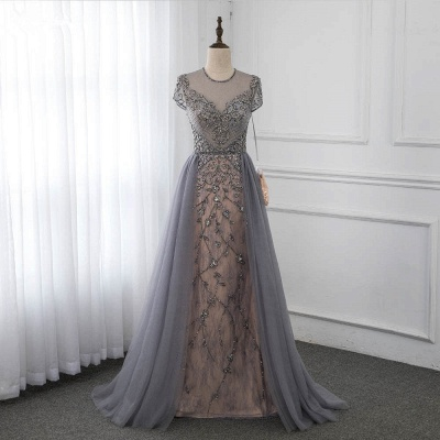 Jewel Cap Sleeves Fitted Prom Dresses with Beads and Detachable Train_6