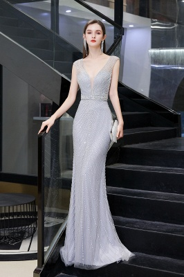 V-neck Cap Sleeves Floor Length Crystal Belt Sheath Prom Dresses_7