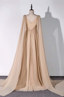 Sleeveless V-neck A-line Champagne Prom Dresses with Watteau Train_2