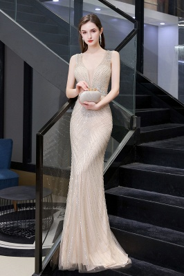 V-neck Cap Sleeves Floor Length Crystal Belt Sheath Prom Dresses_18