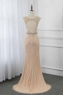 Sleeveless V-neck Belted Floor Length Sheath Prom Dresses_2