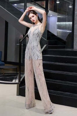 Women's Stylish Round Neck Sleeveless Open Back Beaded Sparkly Prom Jumpsuit_5