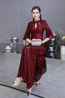 Women's Fashion Jewel Keyhole Half Sleeves Long Sequin Burgundy Prom Dresses_6