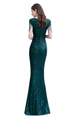 V-neck Cap Sleeves Floor Length Emerald Form-fitting Sequin Prom Dresses_14