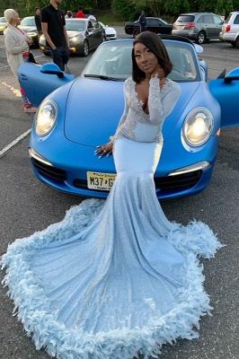 V-neck Appliques Mermaid Feather Prom Dresses with Train with Long Sleeves_2