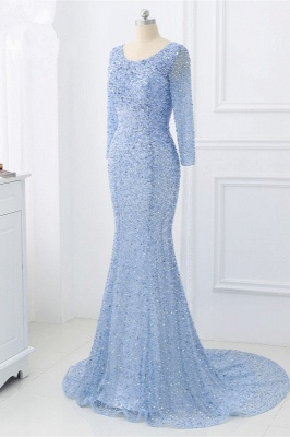 Elegant Light Blue Beaded Round Neckline Fitted Prom Dresses with Long Sleeves_5