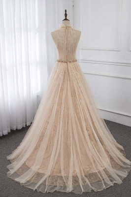 Cute Halter Keywhole Sleeveless Belted A-line Tulle Prom Dresses_2