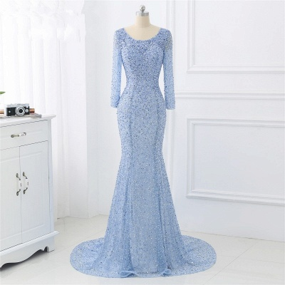 Elegant Light Blue Beaded Round Neckline Fitted Prom Dresses with Long Sleeves_3