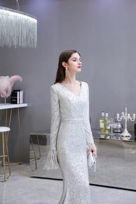 V-neck Long Sleeves Form-fitting Floor Length Burgundy Sequin Prom Dresses_11