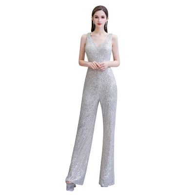 Women's Fashion V-neck Straps Sparkly Sequin Prom Jumpsuit_2