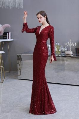 V-neck Long Sleeves Form-fitting Floor Length Burgundy Sequin Prom Dresses_23
