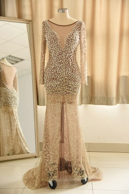 Jewel Pearls Sheer Lace Sexy Prom Dresses with Long Sleeves