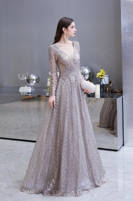 V-neck Long Sleeves Floor Length Lace A-line Gorgeous Prom Dresses_10