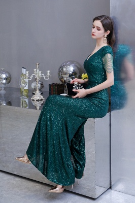 V-neck Cap Sleeves Floor Length Emerald Form-fitting Sequin Prom Dresses_16