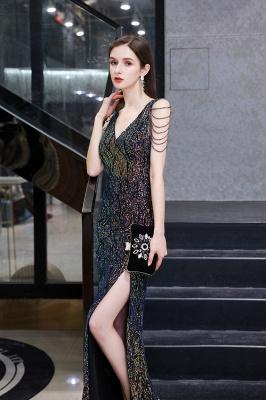 Women's Stylish V-neck Sleeveless Floor Length Thigh Slit Form-fitting Prom Dresses_9