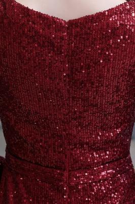 V-neck Long Sleeves Form-fitting Floor Length Burgundy Sequin Prom Dresses_16
