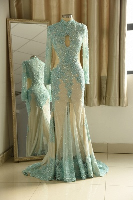 High Neck Long Sleeves Lace Mermaid Prom Dresses with Cut outs