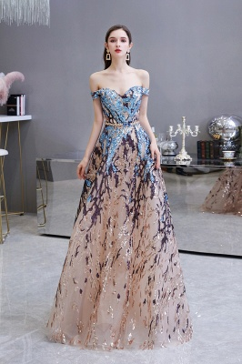 Off the Shoulder Sweetheart Beaded Belted Sparkly A-line Prom Dresses_2