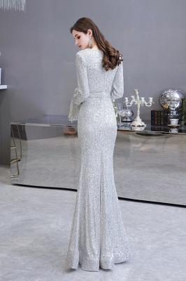 V-neck Long Sleeves Form-fitting Floor Length Burgundy Sequin Prom Dresses_7