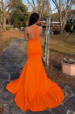 Jewel Sheer Sleeveless Appliques Orange Mermaid Prom Dresses with Side Split_2