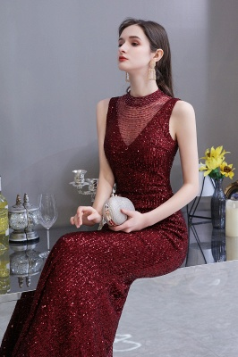 Women's Fashion High Neck Sleeveless Long Sparkly Sequin Form-fitting Prom Dresses_7