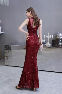 Women's Fashion High Neck Sleeveless Long Sparkly Sequin Form-fitting Prom Dresses_5