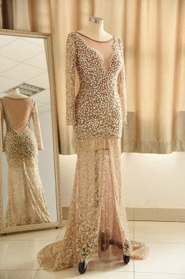 Jewel Pearls Sheer Lace Sexy Prom Dresses with Long Sleeves_4
