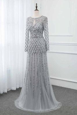 Jewel Keyhole Long Sleeves A-line Light Blue Prom Dresses with Beads_8