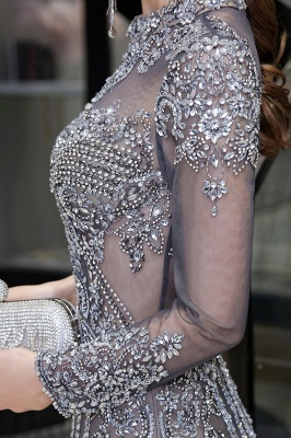High Neck Long Sleeves Sheer Beaded Sexy Fitted Prom Dresses_13