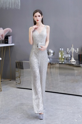 Women's Fashion V-neck Straps Sparkly Sequin Prom Jumpsuit_6