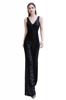 Women's Fashion V-neck Straps Sparkly Sequin Prom Jumpsuit_28