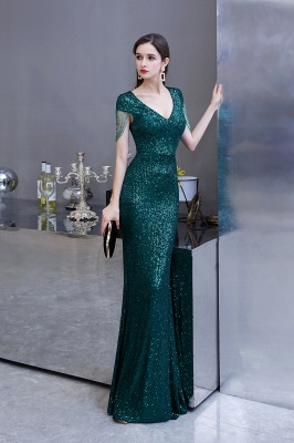 V-neck Cap Sleeves Floor Length Emerald Form-fitting Sequin Prom Dresses_5
