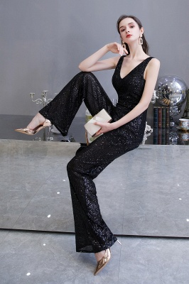 Women's Fashion V-neck Straps Sparkly Sequin Prom Jumpsuit_16