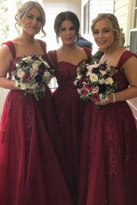 summer Straps Sweetheart Lace-Appliques Tulle Burgundy Bridesmaid Dress_2