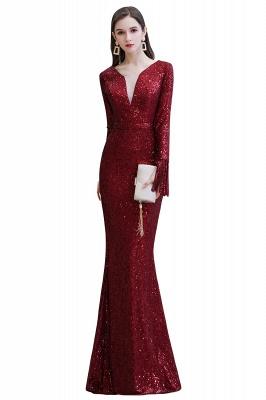V-neck Long Sleeves Form-fitting Floor Length Burgundy Sequin Prom Dresses_1