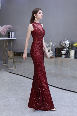 Women's Fashion High Neck Sleeveless Long Sparkly Sequin Form-fitting Prom Dresses_13