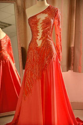 One Shoulder Sheer A-line Red Sexy Prom Dresses | Formal Evening Dresses_5