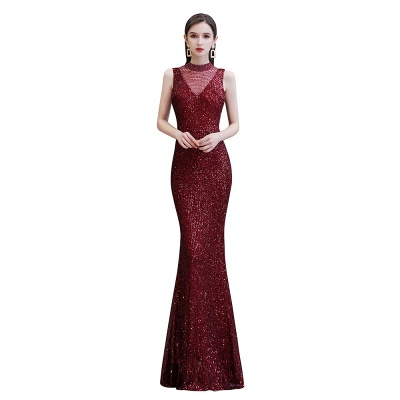 Women's Fashion High Neck Sleeveless Long Sparkly Sequin Form-fitting Prom Dresses_8