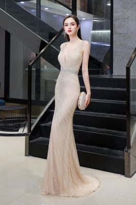 V-neck Cap Sleeves Floor Length Crystal Belt Sheath Prom Dresses_15