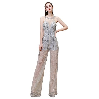 Women's Stylish Round Neck Sleeveless Open Back Beaded Sparkly Prom Jumpsuit_13