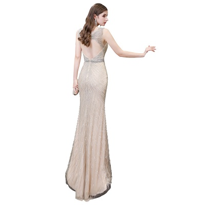 V-neck Cap Sleeves Floor Length Crystal Belt Sheath Prom Dresses_32