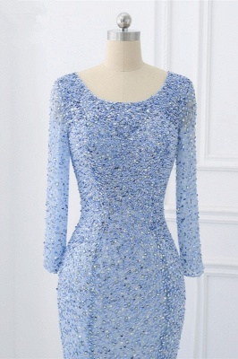 Elegant Light Blue Beaded Round Neckline Fitted Prom Dresses with Long Sleeves_6