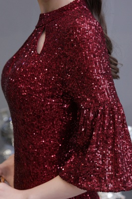 Women's Fashion Jewel Keyhole Half Sleeves Long Sequin Burgundy Prom Dresses_11
