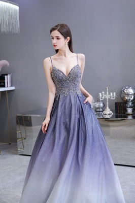 Spaghetti Straps V-neck Beaded Appliques A-line Floor Length Prom Dresses_10