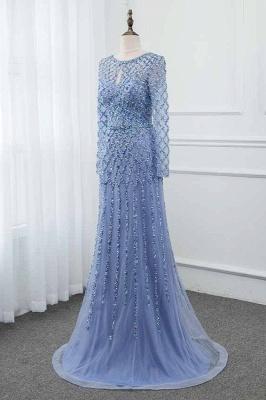 Jewel Keyhole Long Sleeves A-line Light Blue Prom Dresses with Beads_3