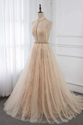 Cute Halter Keywhole Sleeveless Belted A-line Tulle Prom Dresses_3
