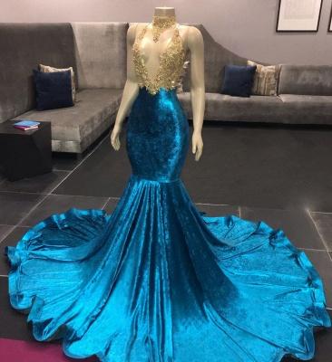 V-neck Appliques Spaghetti Straps Velvet Royal Blue Mermaid Prom Dresses_3