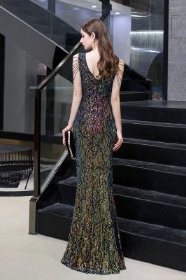 Women's Stylish V-neck Sleeveless Floor Length Thigh Slit Form-fitting Prom Dresses_14