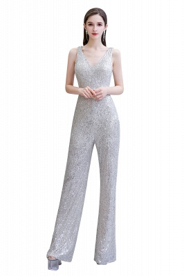 Women's Fashion V-neck Straps Sparkly Sequin Prom Jumpsuit_26