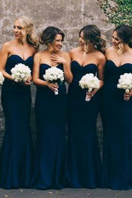 Navy Blue Cheap Mermaid Prom Dress Long Bridesmaid Dress_2